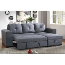 Grey Chaise Sofa with Pull Out Bed