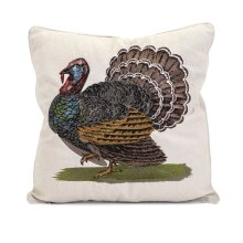 Harvest Embroidered Turkey Pillow