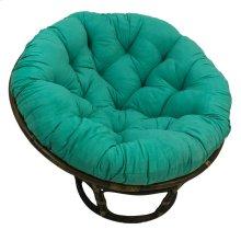 Bali 42-inch Rattan Papasan Chair with Microsuede Fabric Cushion - Walnut/Emerald