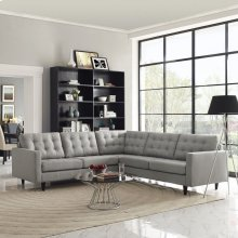 Empress 3 Piece Upholstered Fabric Sectional Sofa Set in Light Gray