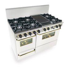 "48"" Dual Fuel, Convect, Self Clean, Open Burners, White with Brass"