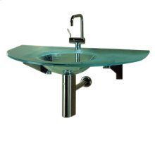 "New Generation arched 1/2"" matte glass counter top with an integrated round basin. Polished stainless steel angular wall mount supports included."