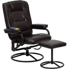 Massaging Multi-Position Recliner and Ottoman with Metal Bases in Brown Leather