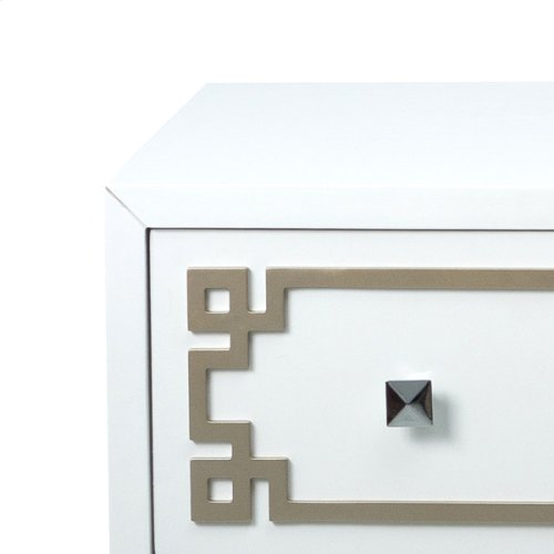 White Drawer Chest with Metallic Geometric Overlay