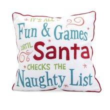 Whimsical Christmas Embroidered Pillow