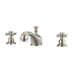 Marsala Widespread Lavatory Faucet with Button Cross Handles - Brushed Nickel Product Image