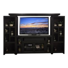 """Skyline 65"""" Entertainment Center with TV Console, 2 Piers and Bridge"""