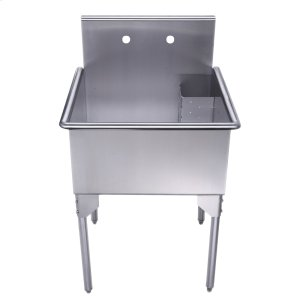 Pearlhaus Collection square, single bowl commercial freestanding utility sink. Product Image