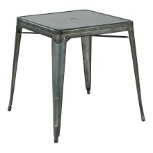 Bristow Metal Table With Umbrella Hole Center Placement In Matte Galvanized Finish (kd)