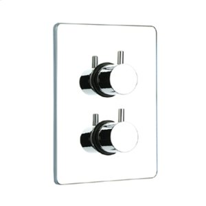 Luxe thermostatic valve with short lever handles and square plate. Product Image