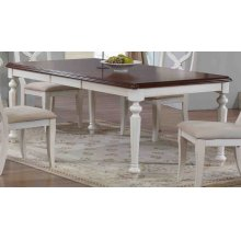 DLU-ADW4276-AW  Andrews Butterfly Leaf Dining Table  Antique White with Chestnut Finish Top