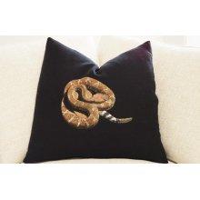 Hand Painted Pillow - Red-Diamond Rattlesnake on Black Linen