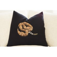 Hand Painted Pillow - Red-Diamond Rattlesnake on Black Linen
