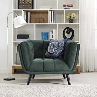 Bestow Performance Velvet Armchair in Green