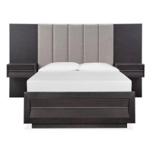 Complete Queen Wall Upholstered Bed with Wood/Metal FB