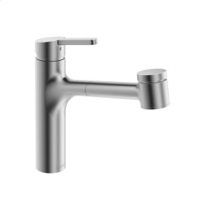 Edge single-lever kitchen faucet with swivel spout; pull-out spray, stainless steel finish Product Image
