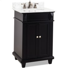 "24"" vanity with a Black finish, clean lines and tapered feet with a preassembled top and bowl."