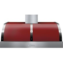 Hood DECO 48'' Red matte, Chrome 1 blower, electronic buttons control, baffle filters