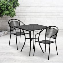 "Commercial Grade 28"" Square Black Indoor-Outdoor Steel Patio Table Set with 2 Round Back Chairs"