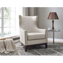 "Roswell Linen Accent Chair w/ Brass NailheadBeige 29""x36""x42"""