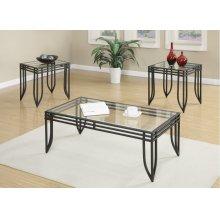 Emerald Home Endeavor 3pc Set Cocktail & 2 End Tables-glass Top-metal Base Black T1401-3pk