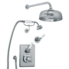"Concealed Godolphin thermostatic mixing valve with 8"" apron rose, handset and shower kit"