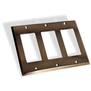 Triple GFI Square Bevel Switch Plate - Antique Brass Product Image