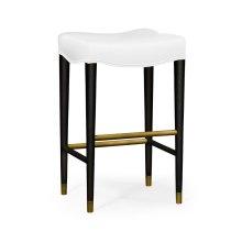Black Bar Stool, Upholstered in COM