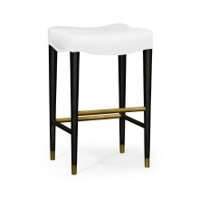 Black Bar Stool, Upholstered in COM