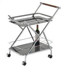 Turner 2-Tier Bar Cart in Chrome & Black