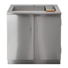 "OUTDOOR KITCHEN CABINETS IN STAINLESS STEEL  PURE 36"" Sink Cabinet SmartStation Maple 2 Doors"