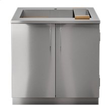"OUTDOOR KITCHEN CABINETS IN STAINLESS STEEL  PURE 36"" Sink Cabinet SmartStation Maple 2 Doors"