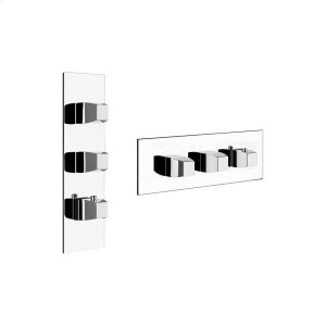 """TRIM PARTS ONLY External parts for thermostatic with 2 volume controls Single backplate High capacity 3/4"""" connections Vertical/Horizontal application Anti-scalding Requires in-wall rough valve 39693 Product Image"""