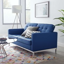 Loft Tufted Upholstered Faux Leather Loveseat in Silver Navy