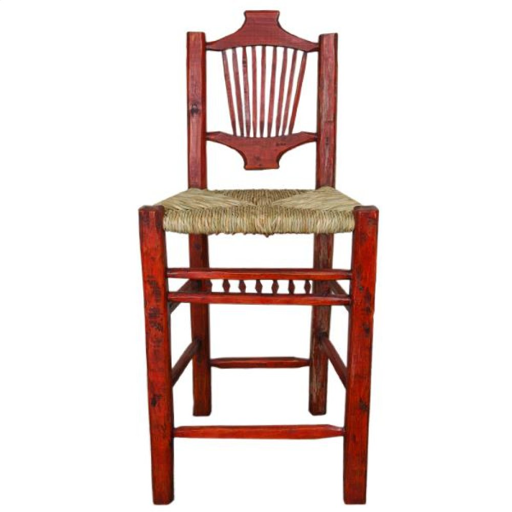 Red Resplendor Barstool W/Wicker Seat
