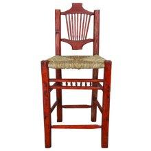 Red Resplendor Barstool W/Wicker Seat