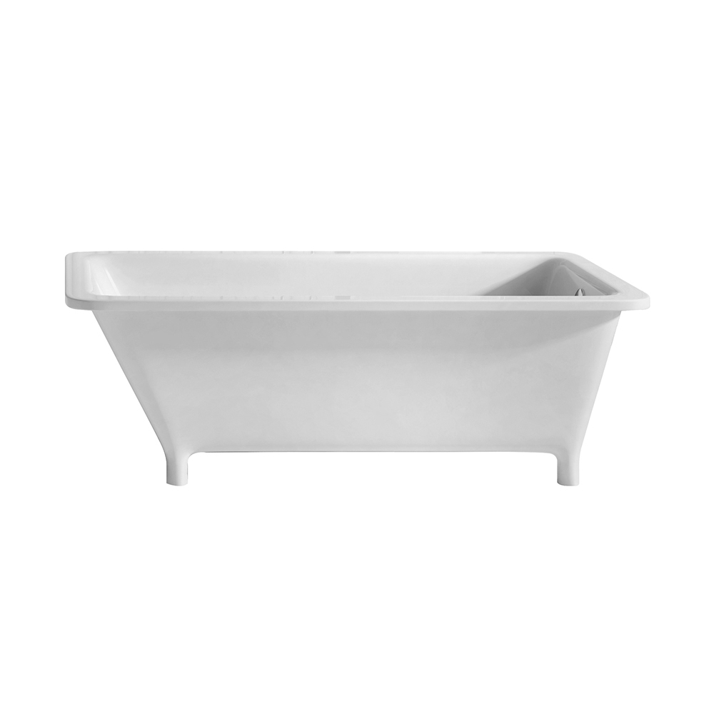 Bathhaus rectangular angled back freestanding footed bathtub made of Lucite® acrylic with a chrome mechanical pop-up waste and right center end drain with an internal overflow.