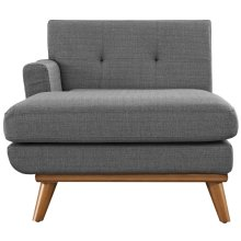 Engage Left-Facing Upholstered Fabric Chaise in Gray