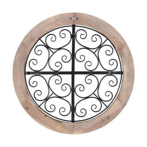 Sieger Wooden Framed Round Iron Wall Decor