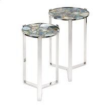 NK Agate Blue Stone Round Tables - Set of 2