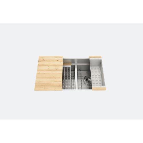 "SmartStation® 005406 - undermount stainless steel Kitchen sink , 18"" × 18 1/8"" × 10""  12"" × 18 1/8"" × 10"" (Maple)"