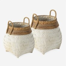 Nile Woven Baskets- Set of 2 - White