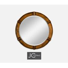 Country Walnut Round Mirror