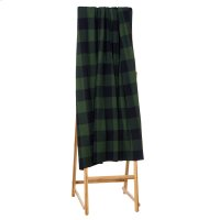 Green & Black Buffalo Plaid Knit Throw. Product Image