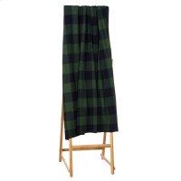 Green & Black Buffalo Plaid Knit Throw. Product Image