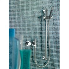 One-handle mixer with hand shower and rail - Grey