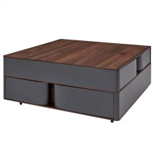 Marcus Square Coffee Table w/ Storage, Walnut/Dark Gray