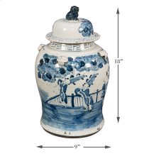 Bridges Ceramic Urn W/Lid