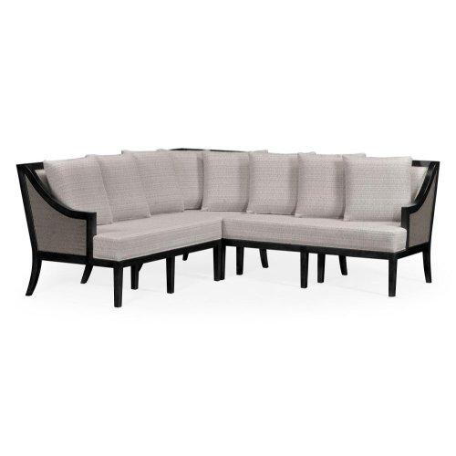 Dark Grey Rattan Outdoor Corner Sofa, Upholstered in Standard Outdoor Fabric