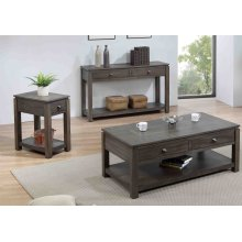 DLU-EL1603-04-08  3 Piece Living Room Table Set with Drawers and Shelves  Gray